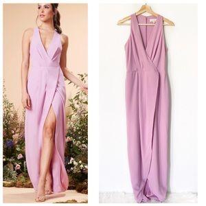 Dress the Population | Faux Wrap V Neck Maxi Dress